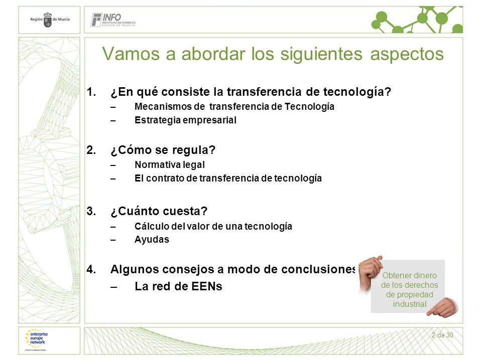 2 de 30 Vamos a abordar los siguientes aspectos 1.¿En qué consiste la transferencia de tecnología? –Mecanismos de transferencia de Tecnología –Estrate