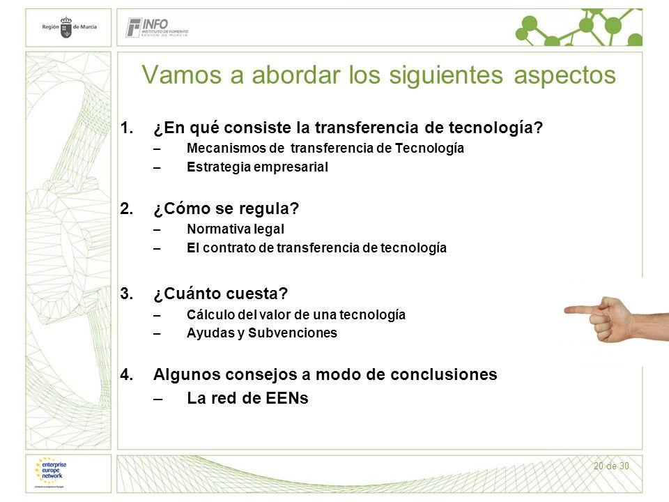 20 de 30 Vamos a abordar los siguientes aspectos 1.¿En qué consiste la transferencia de tecnología? –Mecanismos de transferencia de Tecnología –Estrat