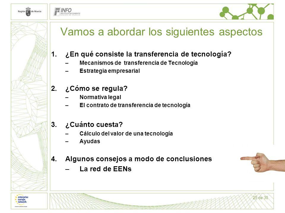 25 de 30 Vamos a abordar los siguientes aspectos 1.¿En qué consiste la transferencia de tecnología? –Mecanismos de transferencia de Tecnología –Estrat