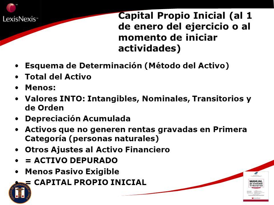 Capital Propio Inicial (al 1 de enero del ejercicio o al momento de iniciar actividades) Esquema de Determinación (Método del Activo) Total del Activo