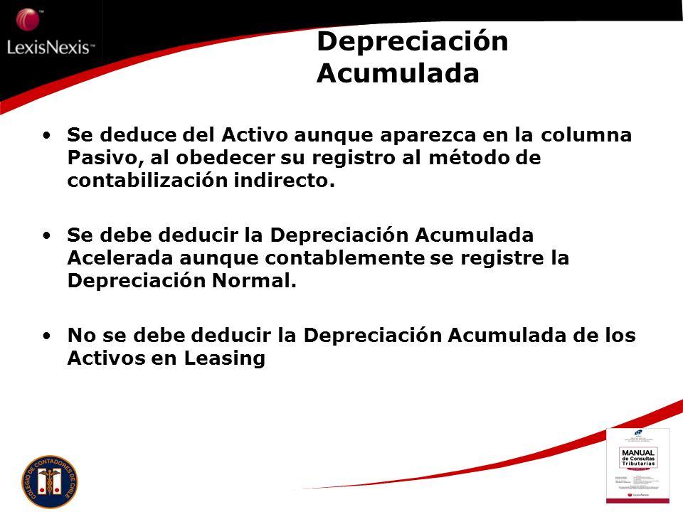 Depreciación Acumulada Se deduce del Activo aunque aparezca en la columna Pasivo, al obedecer su registro al método de contabilización indirecto. Se d