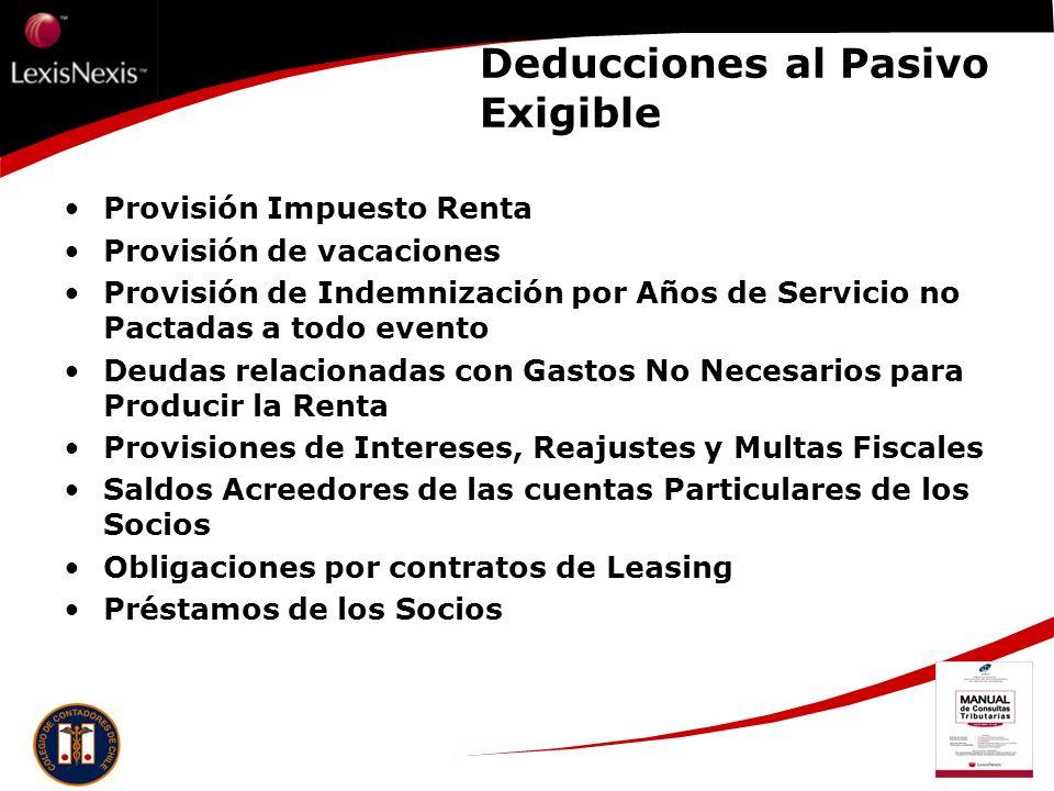 Deducciones al Pasivo Exigible Provisión Impuesto Renta Provisión de vacaciones Provisión de Indemnización por Años de Servicio no Pactadas a todo eve