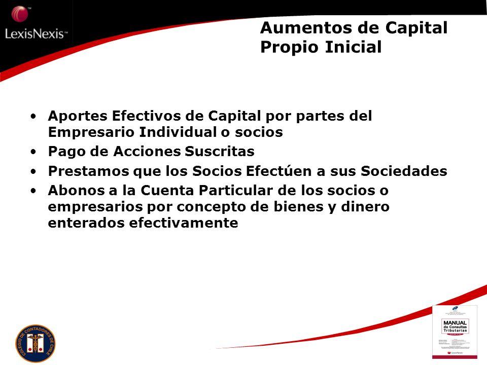 Aumentos de Capital Propio Inicial Aportes Efectivos de Capital por partes del Empresario Individual o socios Pago de Acciones Suscritas Prestamos que