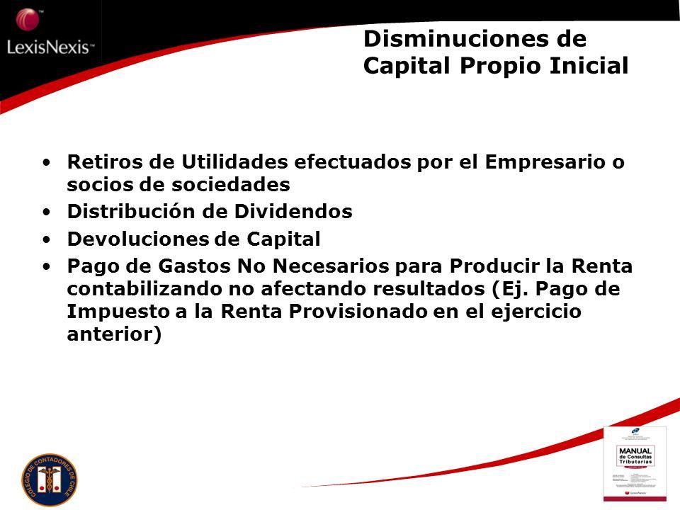 Disminuciones de Capital Propio Inicial Retiros de Utilidades efectuados por el Empresario o socios de sociedades Distribución de Dividendos Devolucio