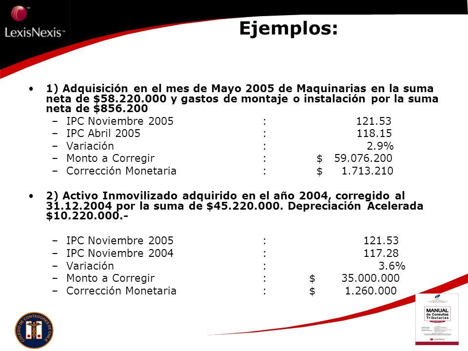 Ejemplos: 1) Adquisición en el mes de Mayo 2005 de Maquinarias en la suma neta de $58.220.000 y gastos de montaje o instalación por la suma neta de $8