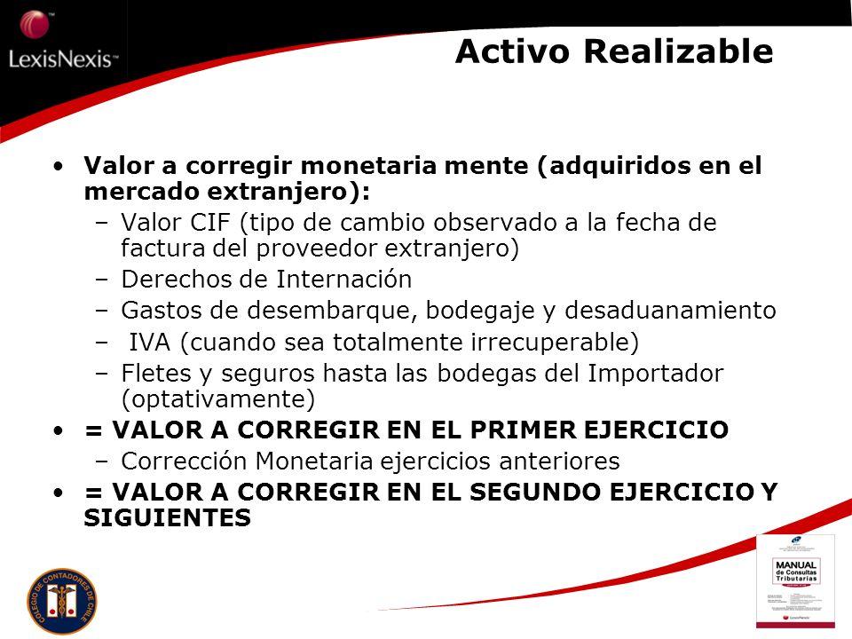 Activo Realizable Valor a corregir monetaria mente (adquiridos en el mercado extranjero): –Valor CIF (tipo de cambio observado a la fecha de factura d