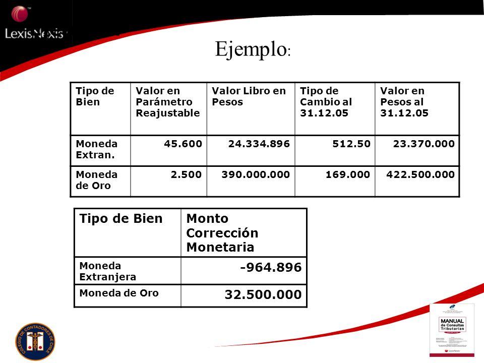 Ejemplo: Tipo de Bien Valor en Parámetro Reajustable Valor Libro en Pesos Tipo de Cambio al 31.12.05 Valor en Pesos al 31.12.05 Moneda Extran. 45.6002