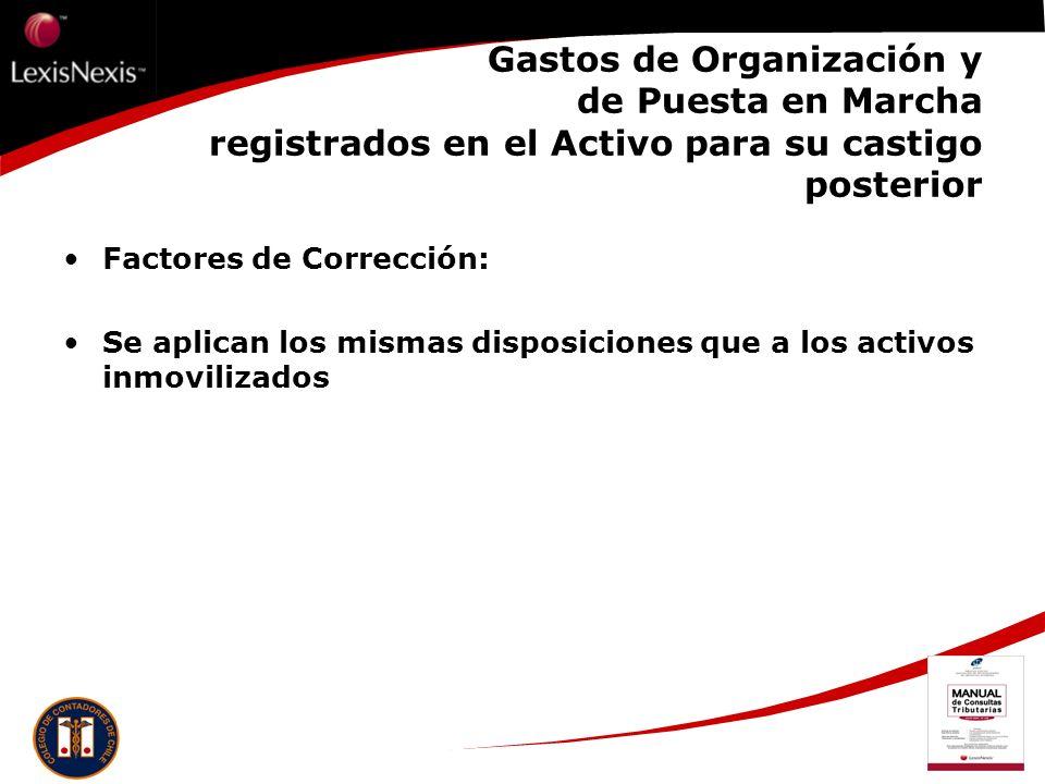 Gastos de Organización y de Puesta en Marcha registrados en el Activo para su castigo posterior Factores de Corrección: Se aplican los mismas disposic