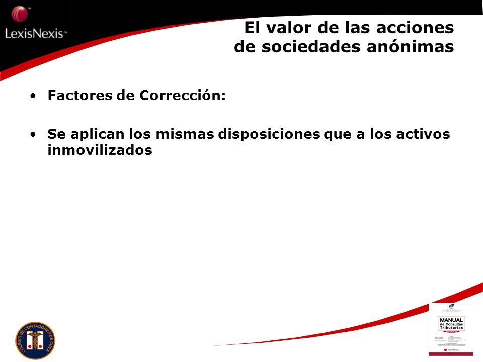 El valor de las acciones de sociedades anónimas Factores de Corrección: Se aplican los mismas disposiciones que a los activos inmovilizados