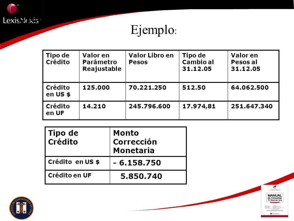 Ejemplo: Tipo de Crédito Valor en Parámetro Reajustable Valor Libro en Pesos Tipo de Cambio al 31.12.05 Valor en Pesos al 31.12.05 Crédito en US $ 125