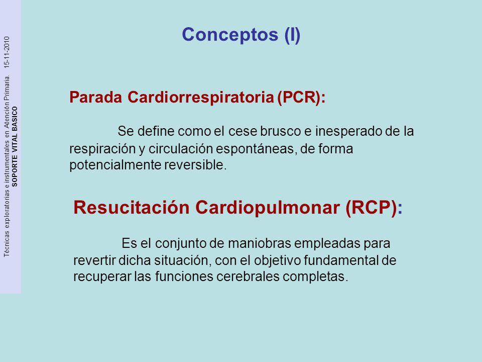 Técnicas exploratorias e instrumentales en Atención Primaria. 15-11-2010 SOPORTE VITAL BASICO Conceptos (I) Parada Cardiorrespiratoria (PCR): Se defin