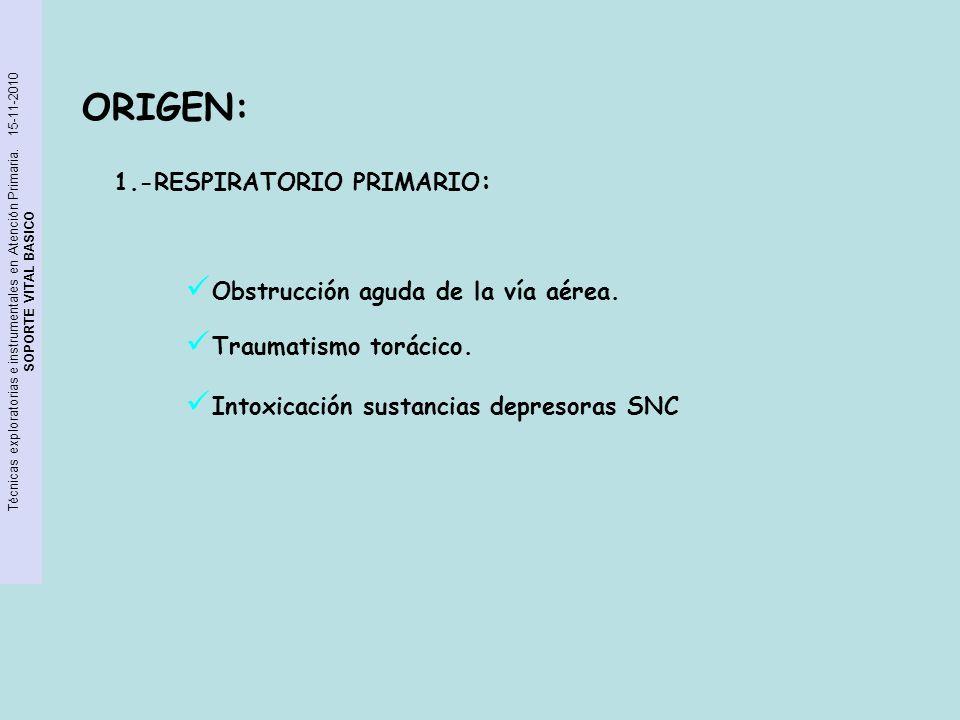 Técnicas exploratorias e instrumentales en Atención Primaria. 15-11-2010 SOPORTE VITAL BASICO ORIGEN: 1.-RESPIRATORIO PRIMARIO : Obstrucción aguda de