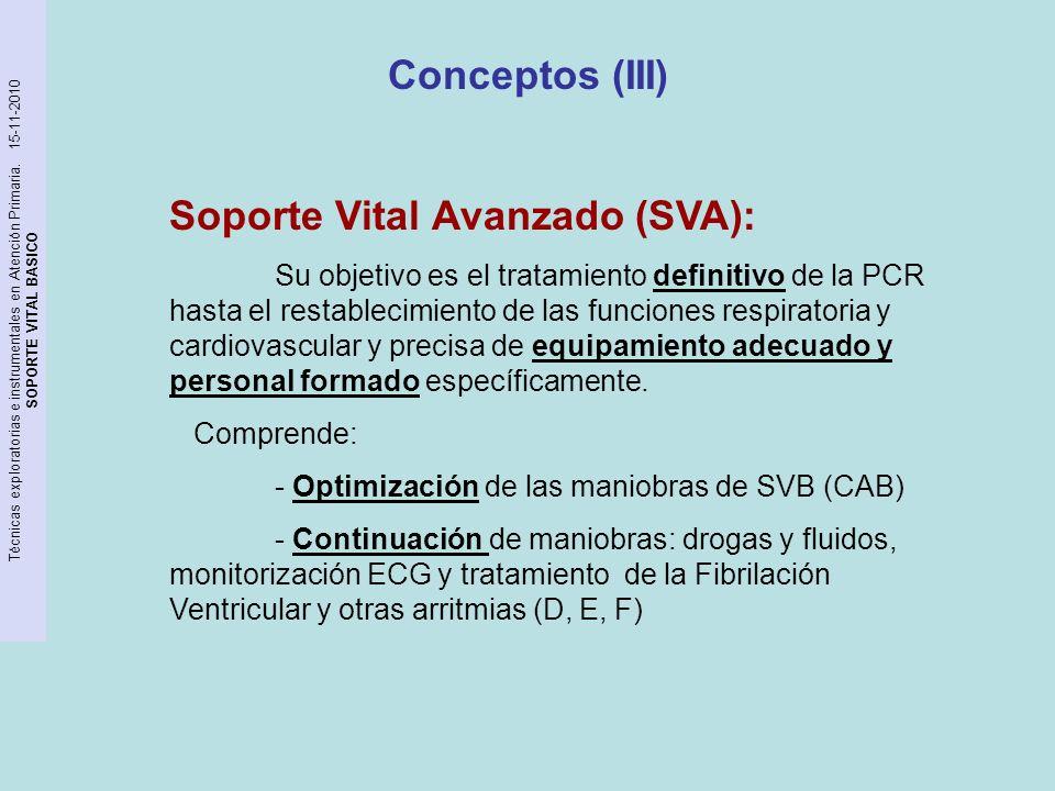 Técnicas exploratorias e instrumentales en Atención Primaria. 15-11-2010 SOPORTE VITAL BASICO Conceptos (III) Soporte Vital Avanzado (SVA): Su objetiv