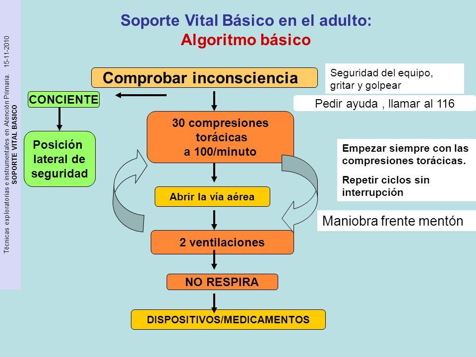 Soporte Vital Básico en el adulto: Algoritmo básico Comprobar inconsciencia Abrir la vía aérea DISPOSITIVOS/MEDICAMENTOS Pedir ayuda, llamar al 116 30