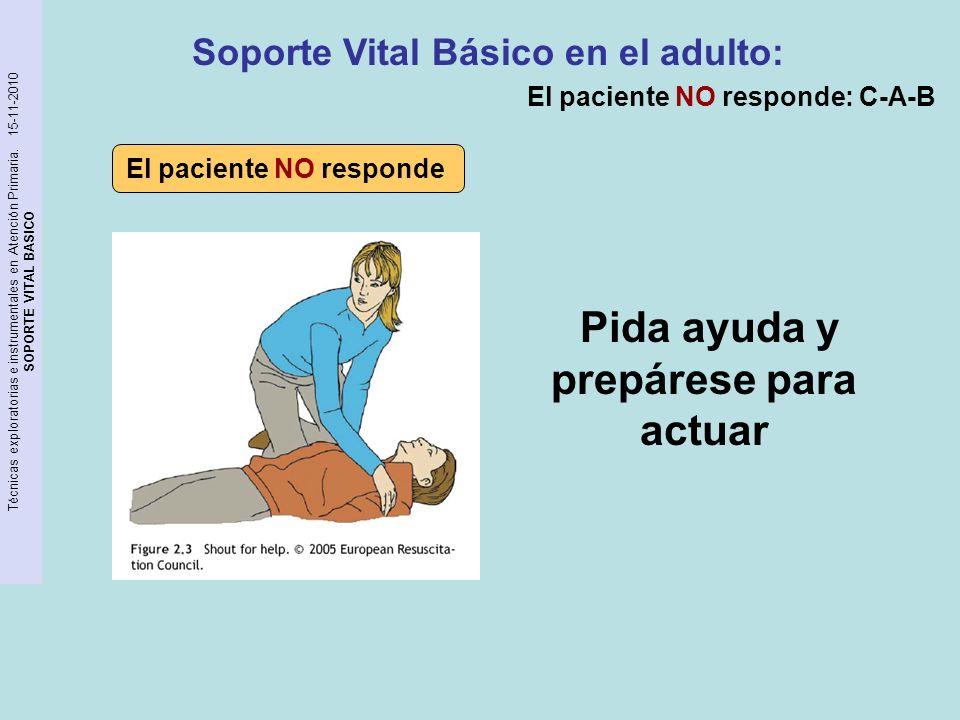 Técnicas exploratorias e instrumentales en Atención Primaria. 15-11-2010 SOPORTE VITAL BASICO Pida ayuda y prepárese para actuar Soporte Vital Básico
