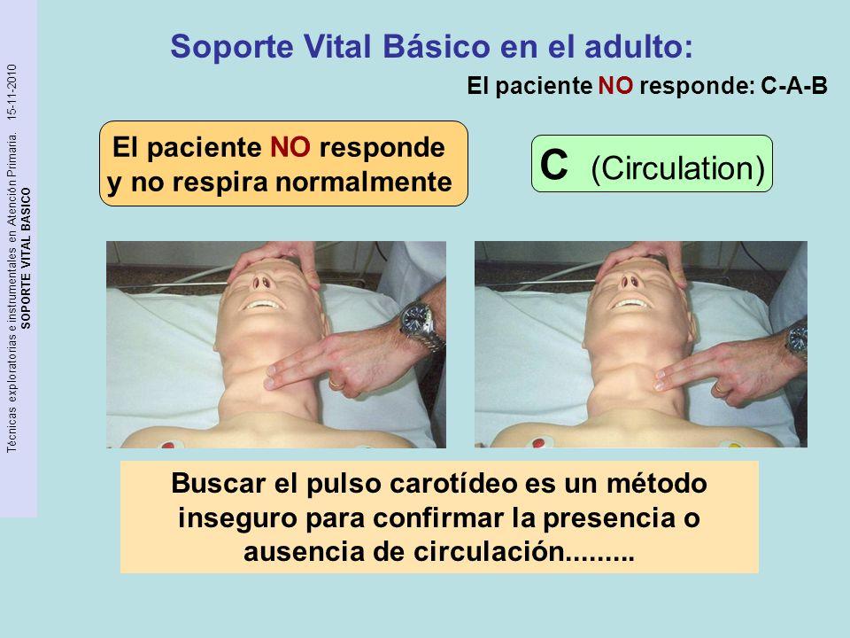 Técnicas exploratorias e instrumentales en Atención Primaria. 15-11-2010 SOPORTE VITAL BASICO El paciente NO responde y no respira normalmente Soporte