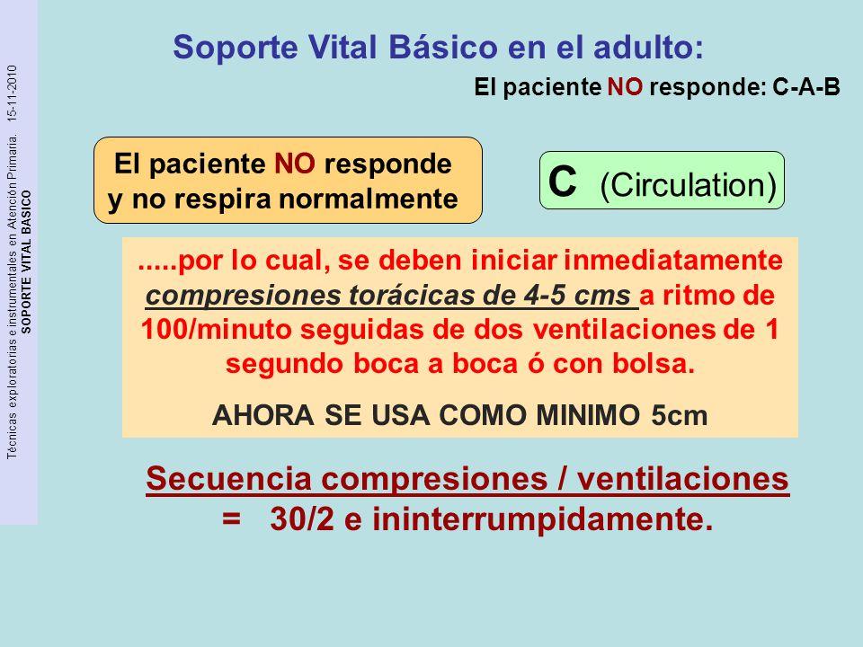 Técnicas exploratorias e instrumentales en Atención Primaria. 15-11-2010 SOPORTE VITAL BASICO Soporte Vital Básico en el adulto: Secuencia compresione