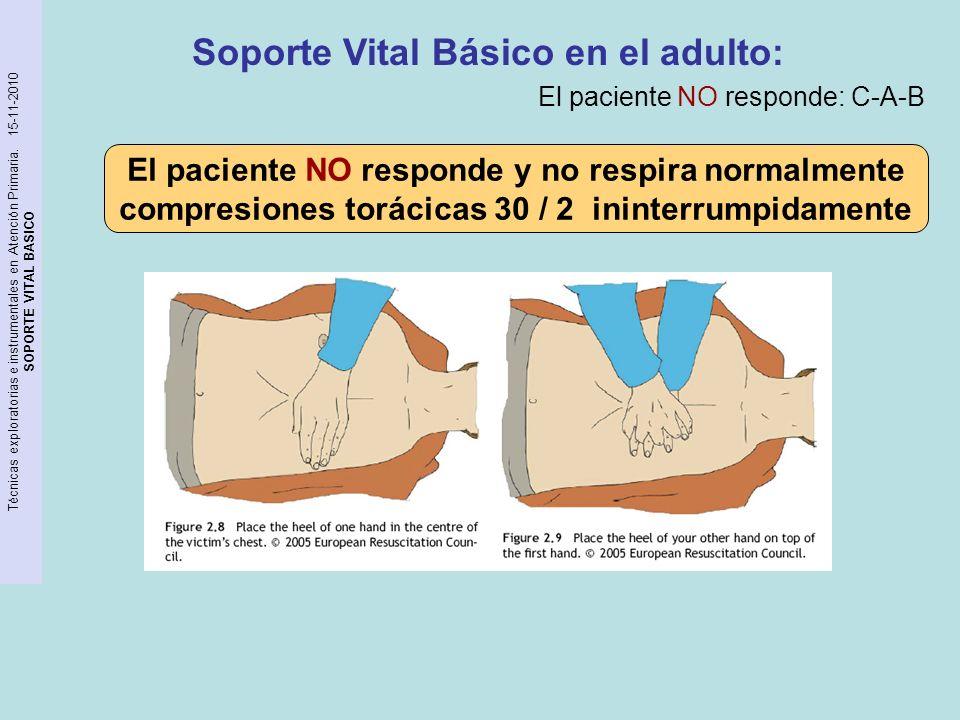 Técnicas exploratorias e instrumentales en Atención Primaria. 15-11-2010 SOPORTE VITAL BASICO El paciente NO responde y no respira normalmente compres