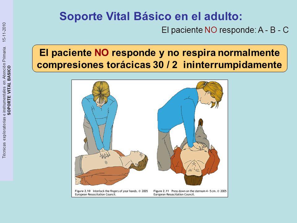 Técnicas exploratorias e instrumentales en Atención Primaria. 15-11-2010 SOPORTE VITAL BASICO Soporte Vital Básico en el adulto: El paciente NO respon