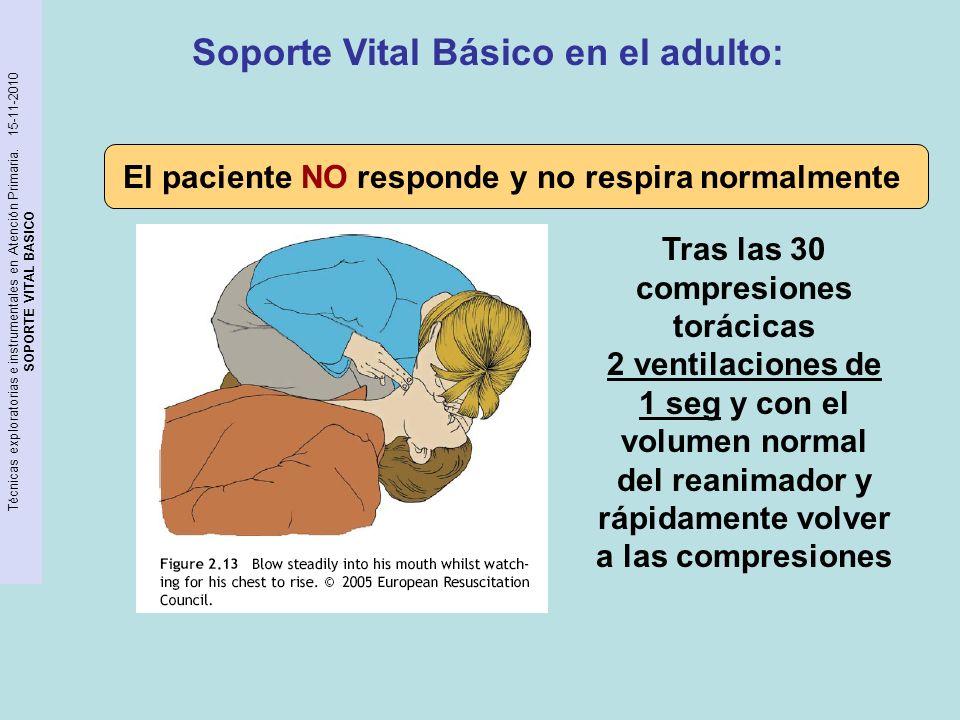 Técnicas exploratorias e instrumentales en Atención Primaria. 15-11-2010 SOPORTE VITAL BASICO El paciente NO responde y no respira normalmente Tras la