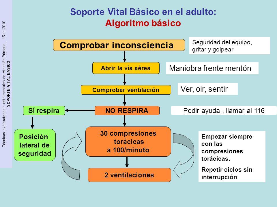 Técnicas exploratorias e instrumentales en Atención Primaria. 15-11-2010 SOPORTE VITAL BASICO Soporte Vital Básico en el adulto: Algoritmo básico Comp