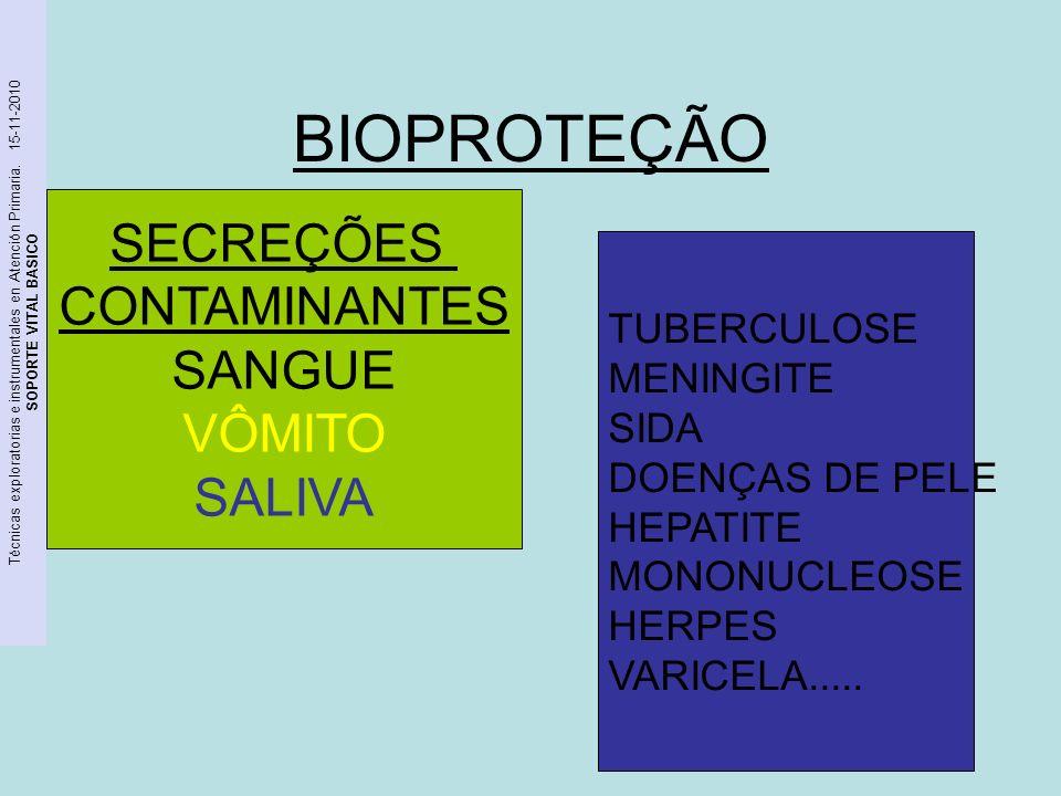 Técnicas exploratorias e instrumentales en Atención Primaria. 15-11-2010 SOPORTE VITAL BASICO BIOPROTEÇÃO CUIDADO!!! SECREÇÕES CONTAMINANTES SANGUE VÔ