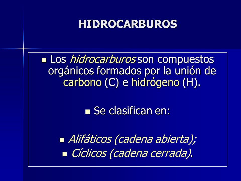 HIDROCARBUROS Los hidrocarburos son compuestos orgánicos formados por la unión de carbono (C) e hidrógeno (H). Los hidrocarburos son compuestos orgáni
