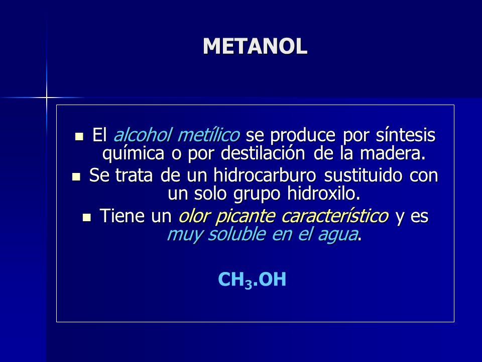 METANOL El alcohol metílico se produce por síntesis química o por destilación de la madera. El alcohol metílico se produce por síntesis química o por