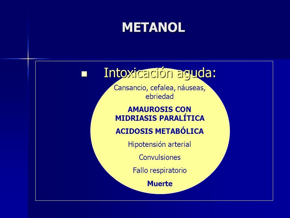 METANOL Intoxicación aguda: Intoxicación aguda: Cansancio, cefalea, náuseas, ebriedad AMAUROSIS CON MIDRIASIS PARALÍTICA ACIDOSIS METABÓLICA Hipotensi