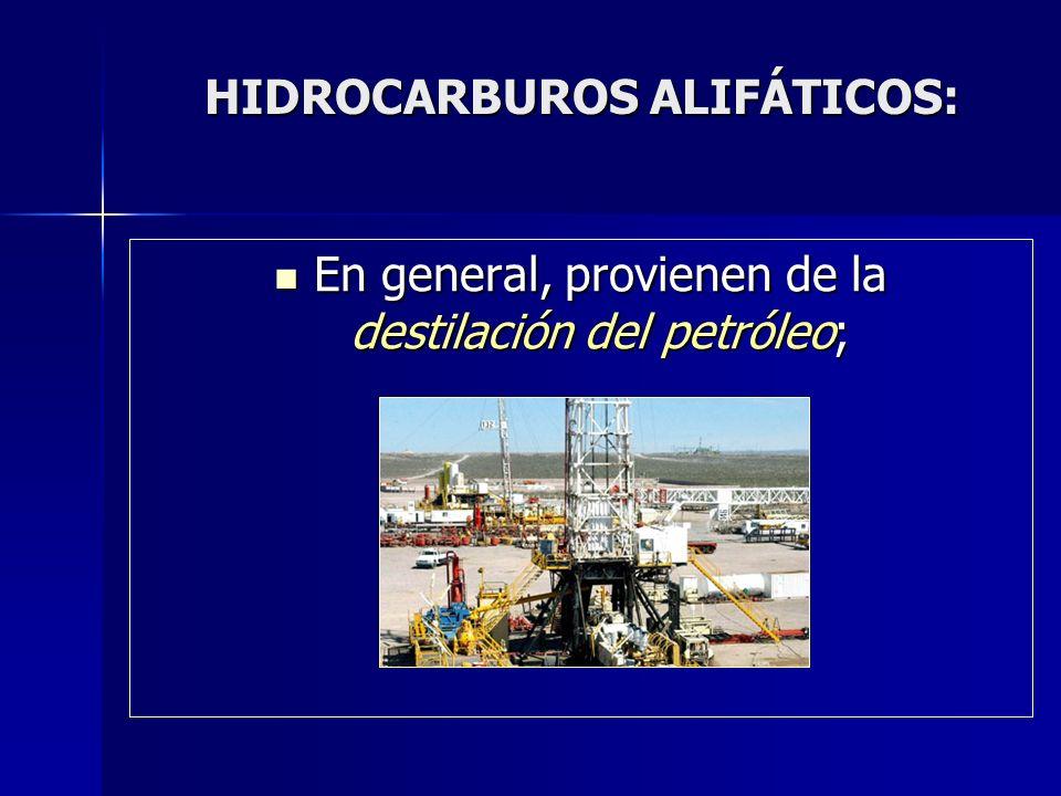 HIDROCARBUROS ALIFÁTICOS: HIDROCARBUROS ALIFÁTICOS: En general, provienen de la destilación del petróleo; En general, provienen de la destilación del