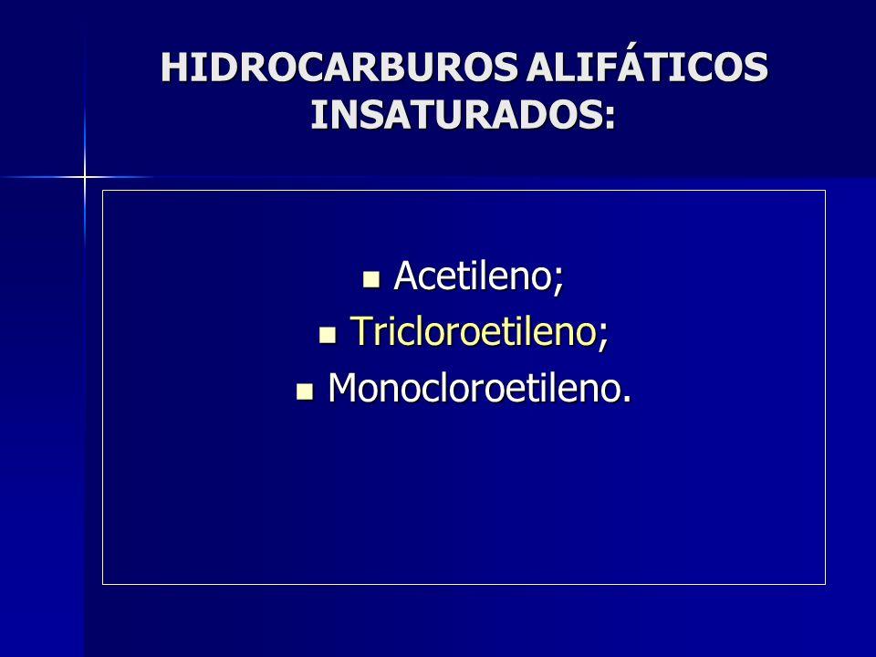 HIDROCARBUROS ALIFÁTICOS INSATURADOS: Acetileno; Acetileno; Tricloroetileno; Tricloroetileno; Monocloroetileno. Monocloroetileno.