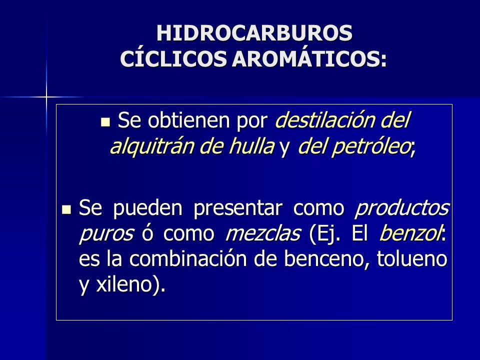 HIDROCARBUROS CÍCLICOS AROMÁTICOS: Se obtienen por destilación del alquitrán de hulla y del petróleo; Se obtienen por destilación del alquitrán de hul