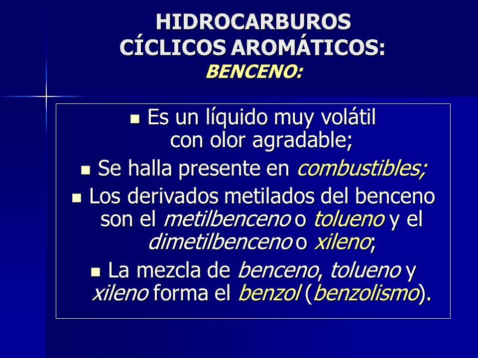 HIDROCARBUROS CÍCLICOS AROMÁTICOS: BENCENO: Es un líquido muy volátil con olor agradable; Es un líquido muy volátil con olor agradable; Se halla prese