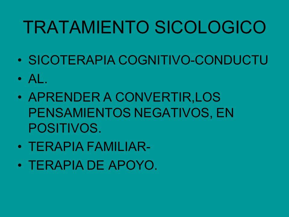 TRATAMIENTO SICOLOGICO SICOTERAPIA COGNITIVO-CONDUCTU AL. APRENDER A CONVERTIR,LOS PENSAMIENTOS NEGATIVOS, EN POSITIVOS. TERAPIA FAMILIAR- TERAPIA DE