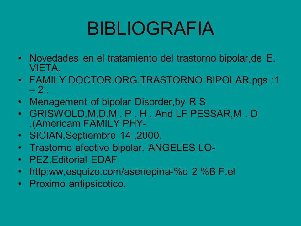 BIBLIOGRAFIA Novedades en el tratamiento del trastorno bipolar,de E. VIETA. FAMILY DOCTOR.ORG.TRASTORNO BIPOLAR.pgs :1 – 2. Menagement of bipolar Diso
