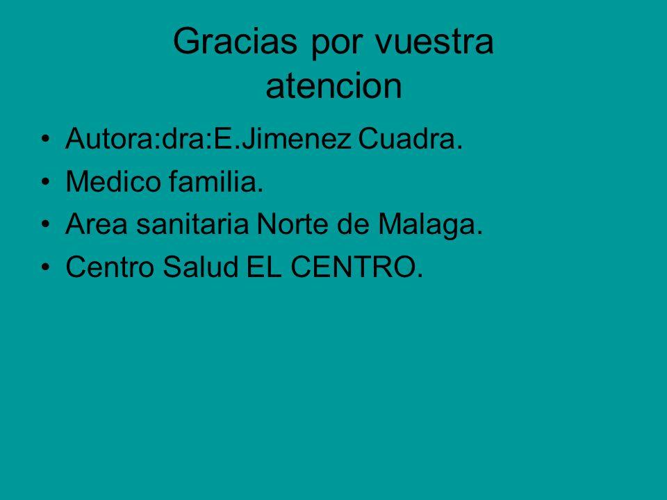 Gracias por vuestra atencion Autora:dra:E.Jimenez Cuadra. Medico familia. Area sanitaria Norte de Malaga. Centro Salud EL CENTRO.