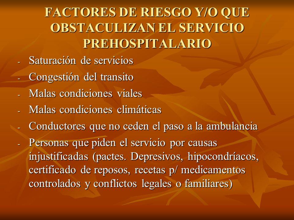 FACTORES DE RIESGO Y/O QUE OBSTACULIZAN EL SERVICIO PREHOSPITALARIO - Saturación de servicios - Congestión del transito - Malas condiciones viales - M