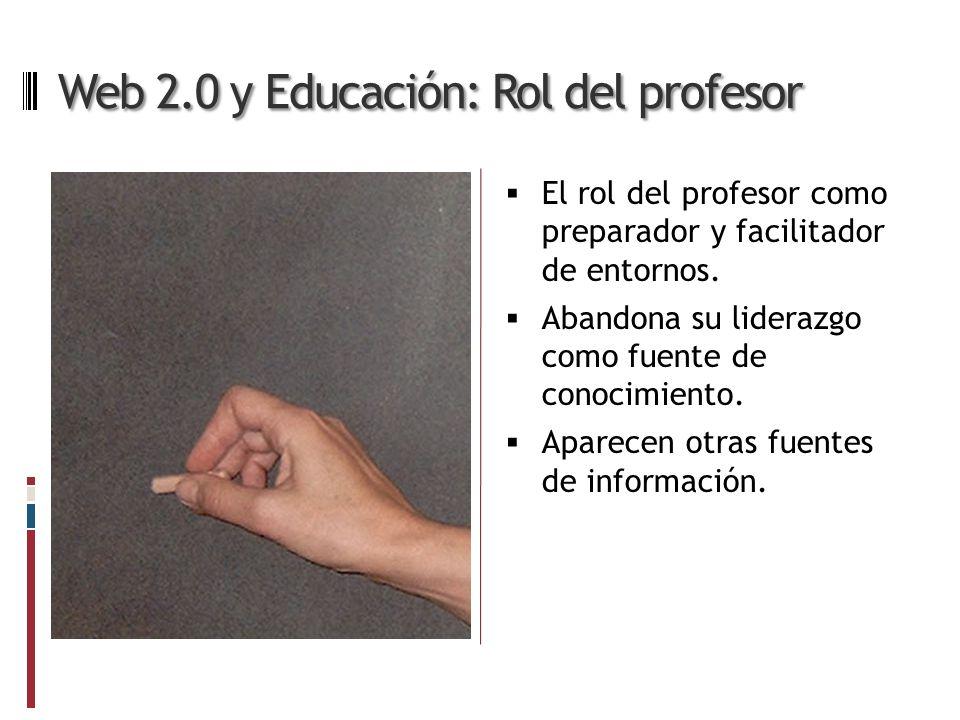 Web 2.0 y Educación: Rol del profesor El rol del profesor como preparador y facilitador de entornos.