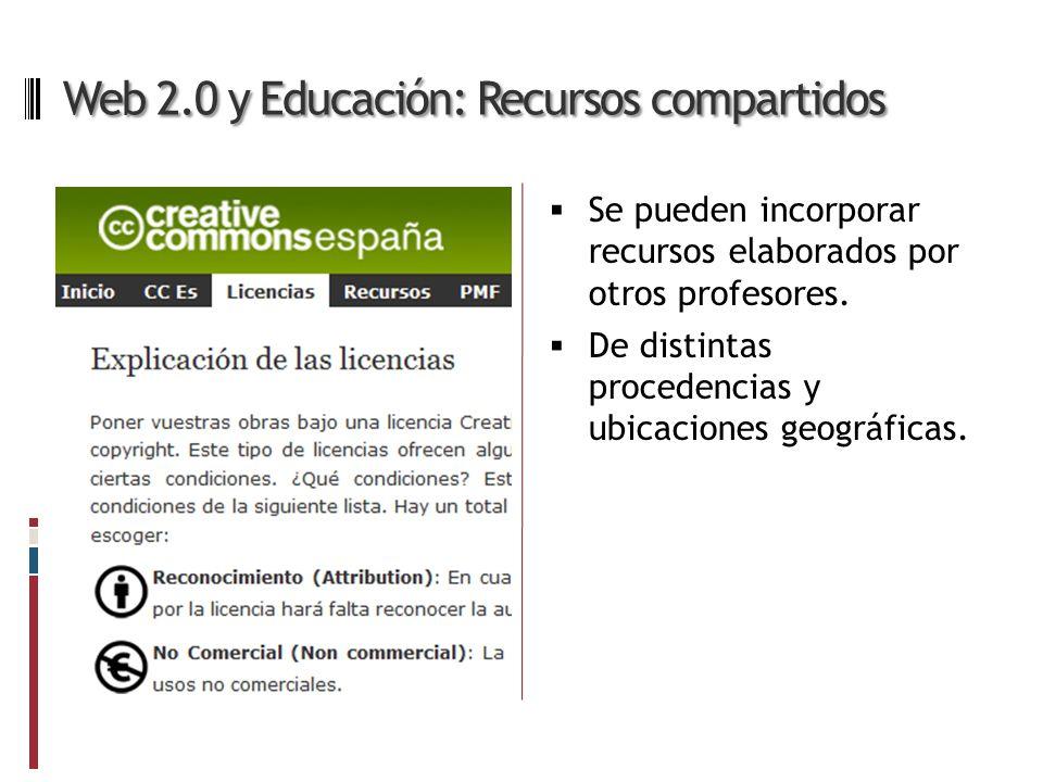 Web 2.0 y Educación: Recursos compartidos Se pueden incorporar recursos elaborados por otros profesores.