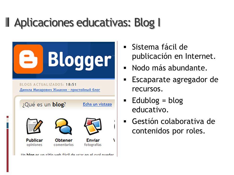 Aplicaciones educativas: Blog I Sistema fácil de publicación en Internet.