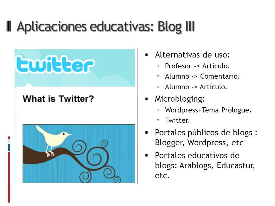Aplicaciones educativas: Blog III Alternativas de uso: Profesor -> Artículo.