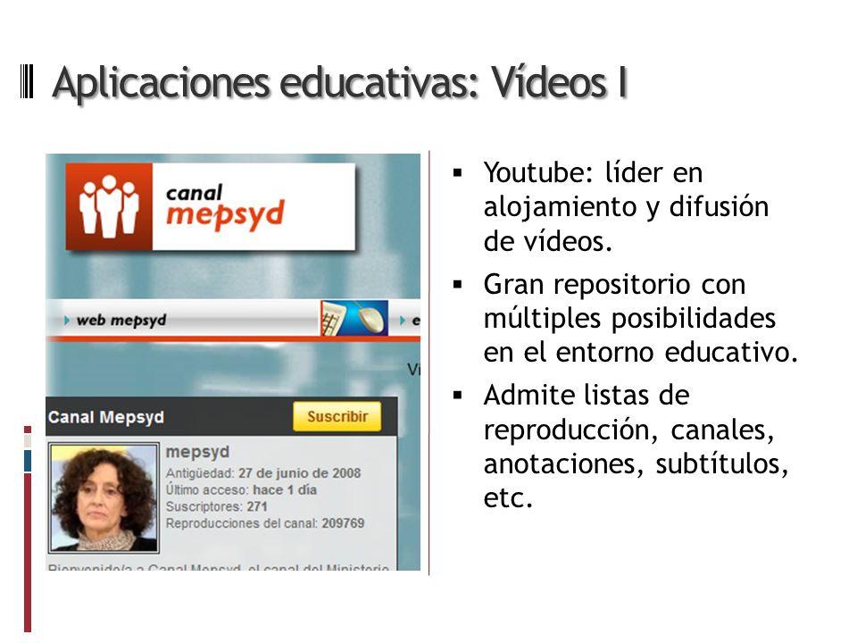 Aplicaciones educativas: Vídeos I Youtube: líder en alojamiento y difusión de vídeos.
