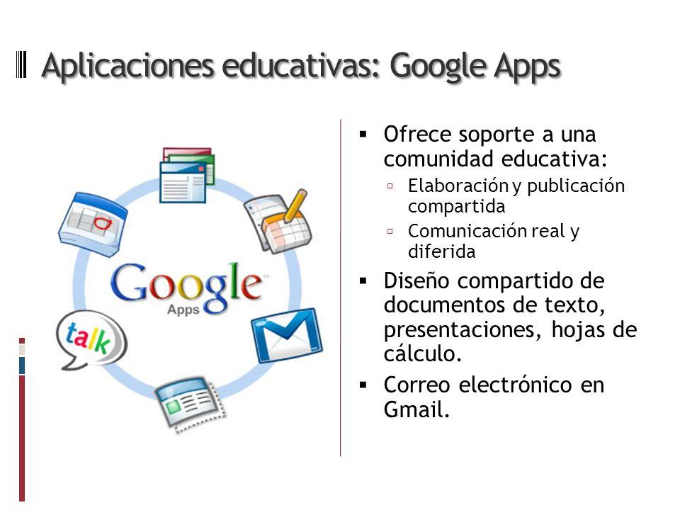 Aplicaciones educativas: Google Apps Ofrece soporte a una comunidad educativa: Elaboración y publicación compartida Comunicación real y diferida Diseño compartido de documentos de texto, presentaciones, hojas de cálculo.