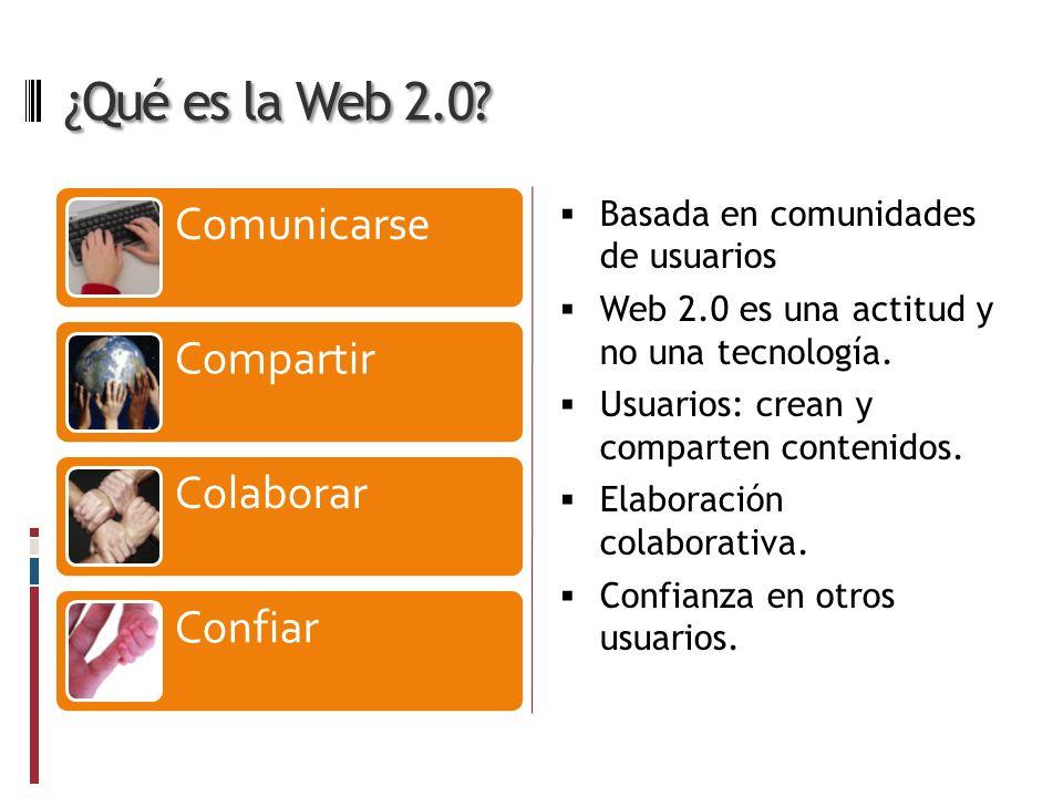 ¿Qué es la Web 2.0. Basada en comunidades de usuarios Web 2.0 es una actitud y no una tecnología.