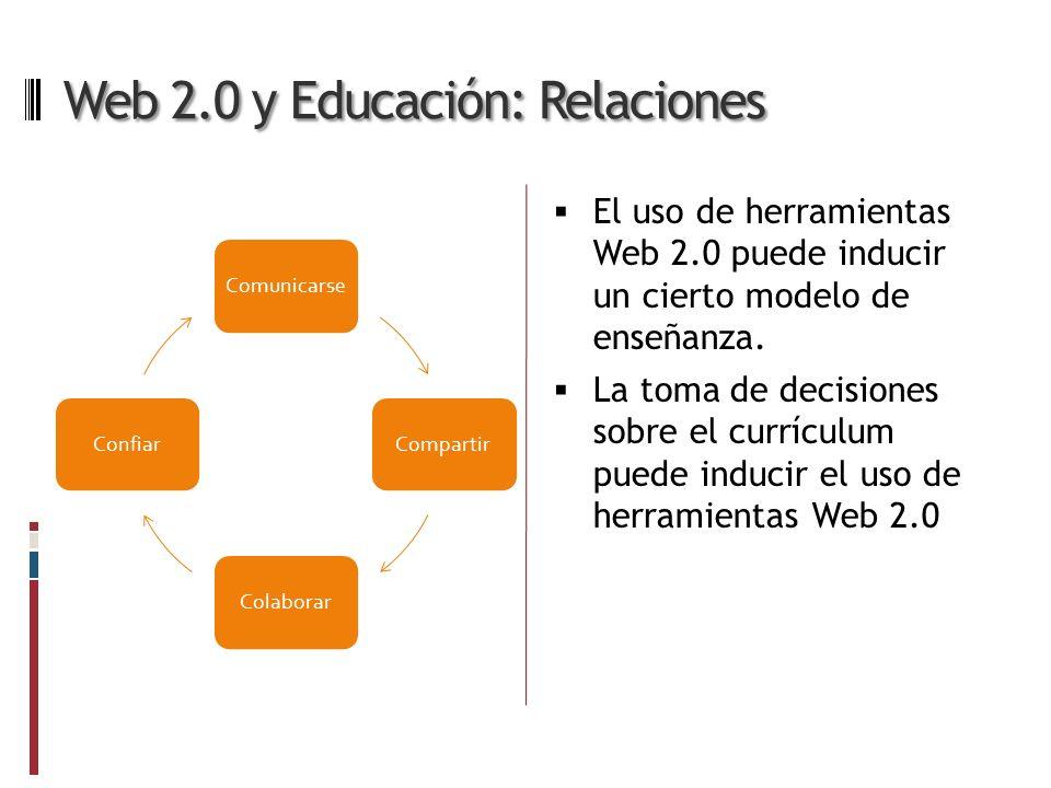 Web 2.0 y Educación: Relaciones El uso de herramientas Web 2.0 puede inducir un cierto modelo de enseñanza.