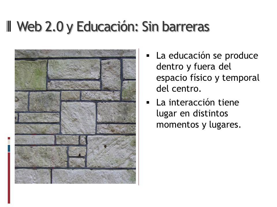 Web 2.0 y Educación: Sin barreras La educación se produce dentro y fuera del espacio físico y temporal del centro.