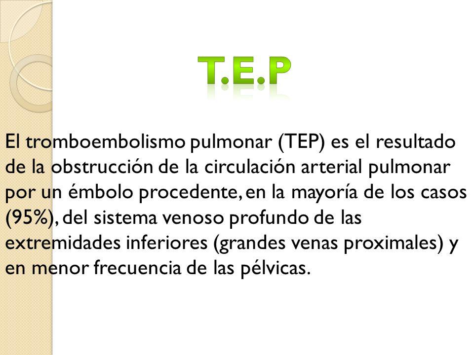 El tromboembolismo pulmonar (TEP) es el resultado de la obstrucción de la circulación arterial pulmonar por un émbolo procedente, en la mayoría de los casos (95%), del sistema venoso profundo de las extremidades inferiores (grandes venas proximales) y en menor frecuencia de las pélvicas.