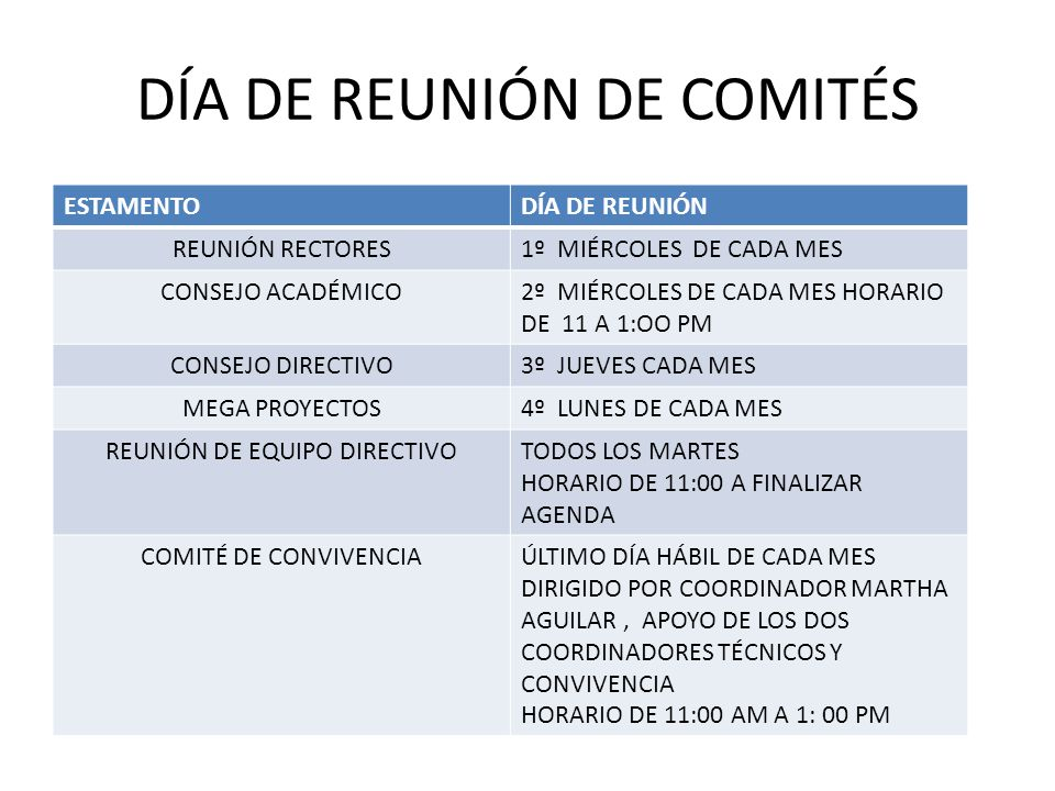 DÍA DE REUNIÓN DE COMITÉS ESTAMENTODÍA DE REUNIÓN REUNIÓN RECTORES1º MIÉRCOLES DE CADA MES CONSEJO ACADÉMICO2º MIÉRCOLES DE CADA MES HORARIO DE 11 A 1