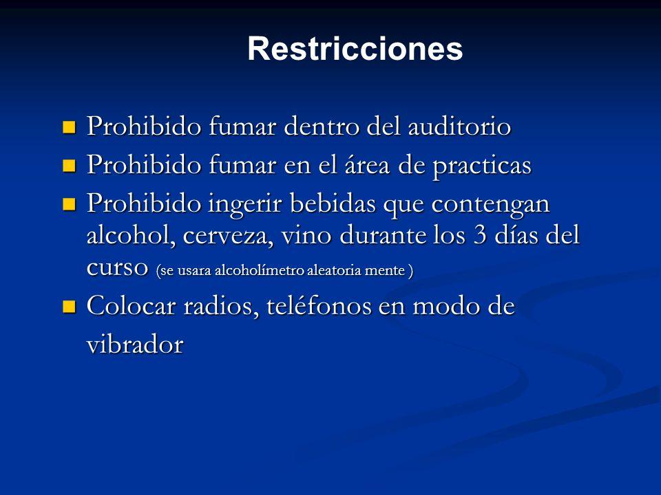 Restricciones Prohibido fumar dentro del auditorio Prohibido fumar dentro del auditorio Prohibido fumar en el área de practicas Prohibido fumar en el