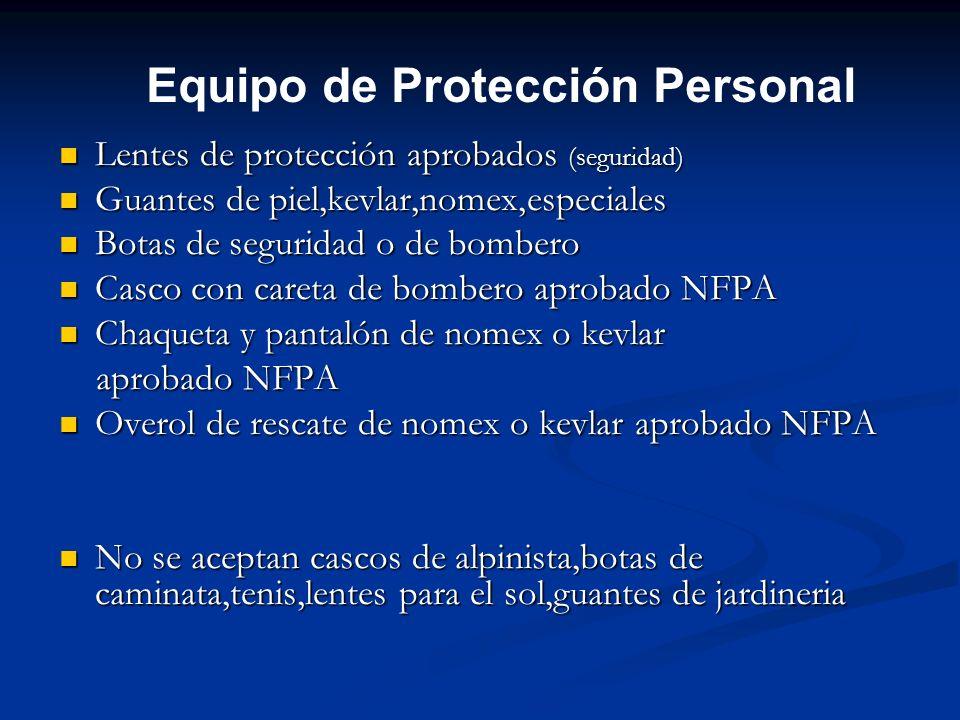 Equipo de Protección Personal Lentes de protección aprobados (seguridad) Lentes de protección aprobados (seguridad) Guantes de piel,kevlar,nomex,espec